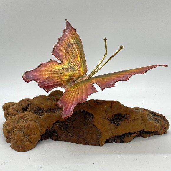 VINTAGE Brass Butterfly Driftwood Sculpture